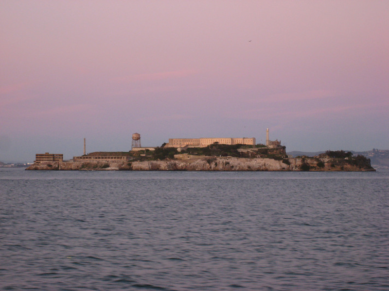 Alcatraz at sunset, as seen from the ferry.