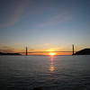 The Golden Gate Bridge at sunset, seen from the ferry from Sausalito back to Fisherman's Wharf.