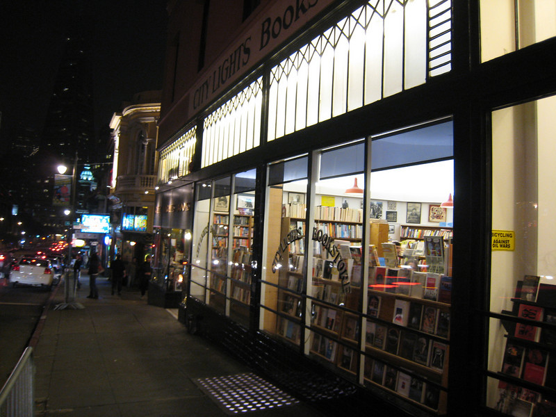 The famous City Lights Bookstore, headquarters of the Beat movement in the 1950s.
