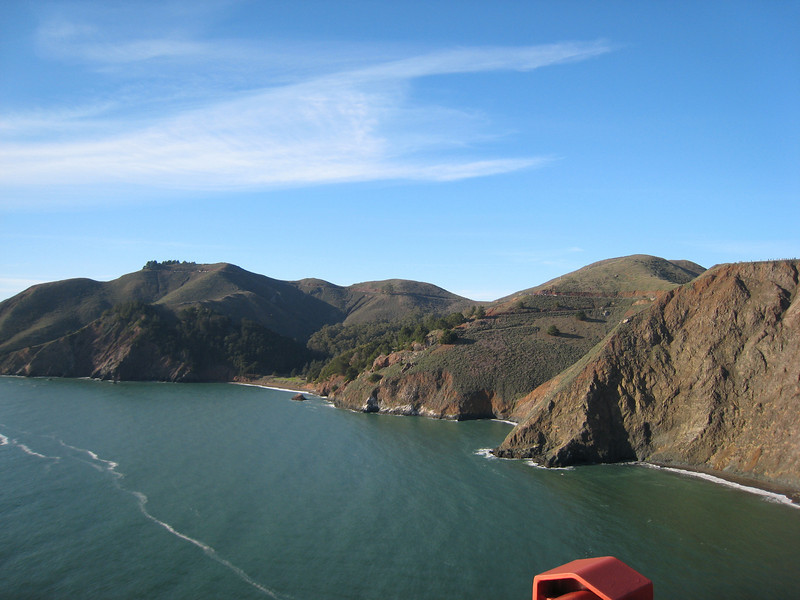 The stunningly beautiful Marin County Headlands, as seen from the Golden Gate Bridge.
