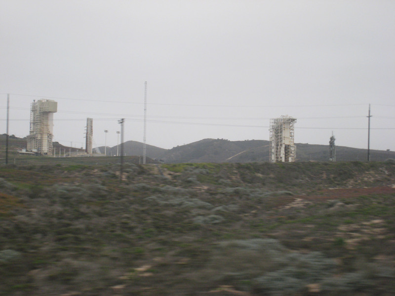 Missile launchers at Vandenberg Air Force Base, which the train to Los Angeles passes through.  There is no road access here.