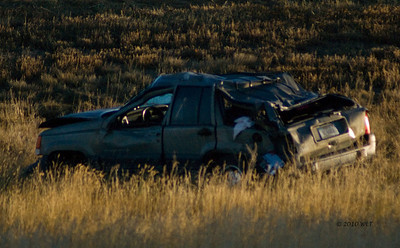 "Roll Over  Montana High-Way Patrol report indicates this was a ""distracted driver"" and was un-injured. She rolled twice and walked away, ""walked home."""