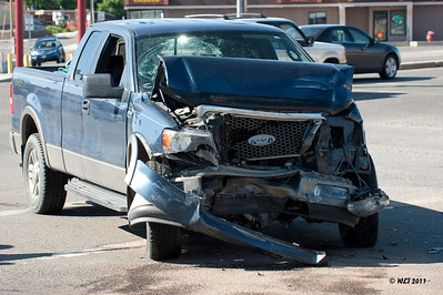 Trafic Acciddent, While this looks like a lot of damage, if you notice it is confined to the front of the truck. The window was broken by the deploied air bag. This is by design so the damage is confined to property and not bodily injury.