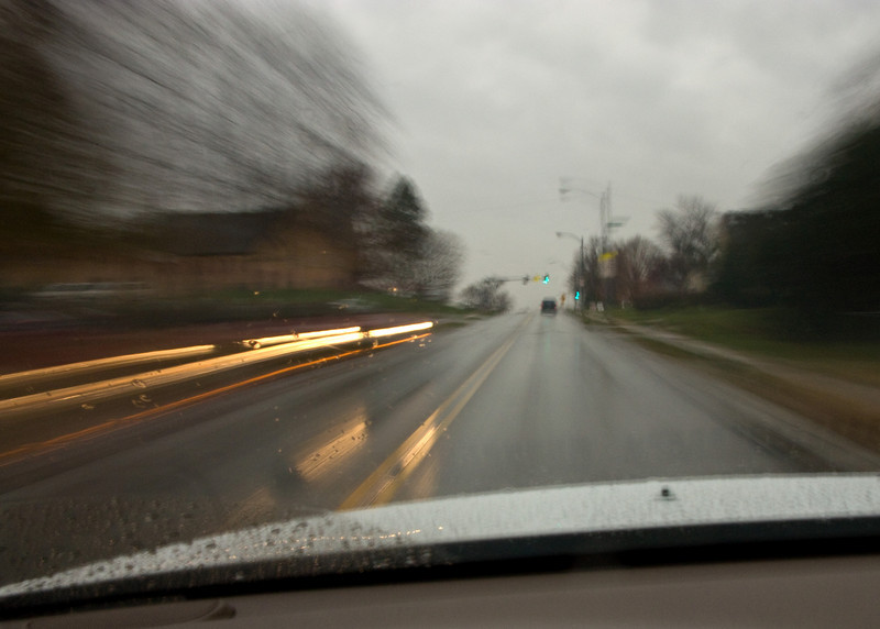 Driving home on a rainy day.