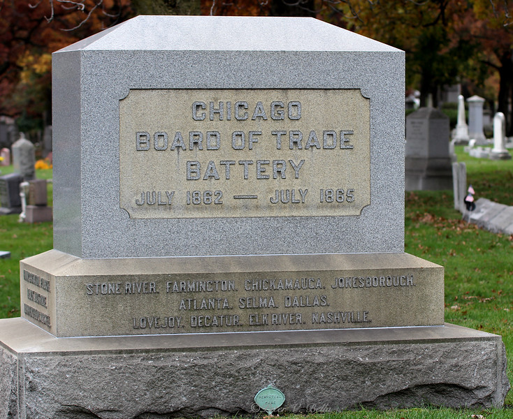 When President Lincoln called for troops during the Civil War, the president of the Chicago Board of Trade and the board members put together a horse artillery battery. This monument stands in Rosehill Cemetery.