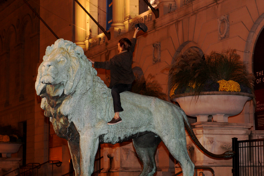 The lions at the Chicago Art Institute attract tourists and protesters alike. This was taken during an Occupy Chicago protest.