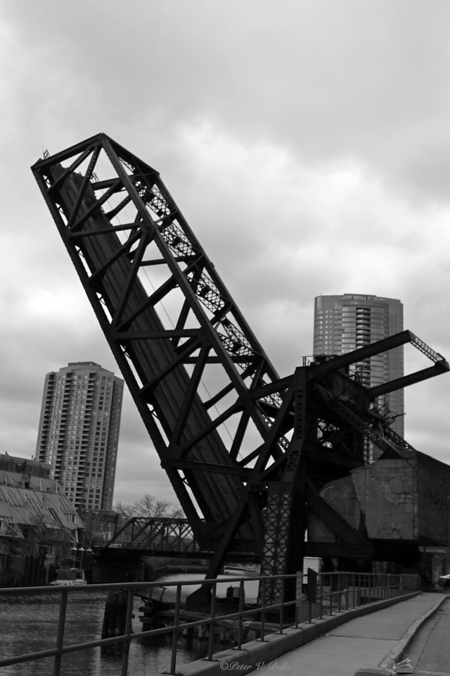 The Erie Street bridge. This site held the first iron bridge in Chicago. This is the third bridge built on the site.