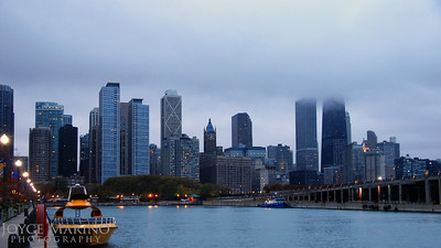 Chicago skyline view from Navy Pier in Chicago along Lake Michigan on foggy morn.  DSC_0069r