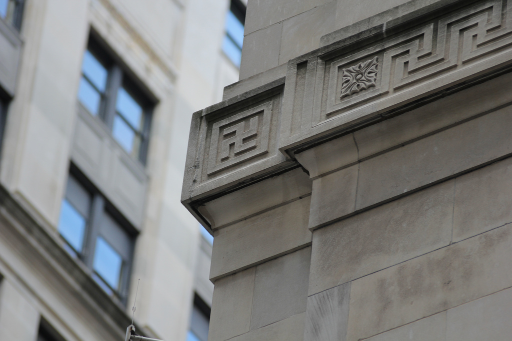 The former Continental Bank building (Bank of America) was built in the 1920s. This frieze is in the corner of the building at Jackson and LaSalle. The Swastika was not a symbol of evil until World War II.