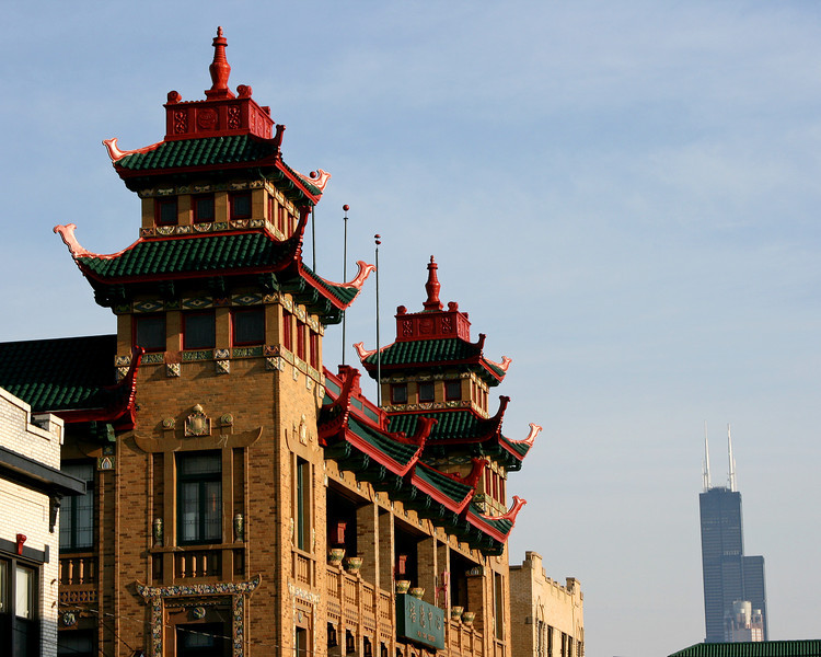 Pui Tak Center in Chinatown with the Sears Tower in the background, Chicago IL