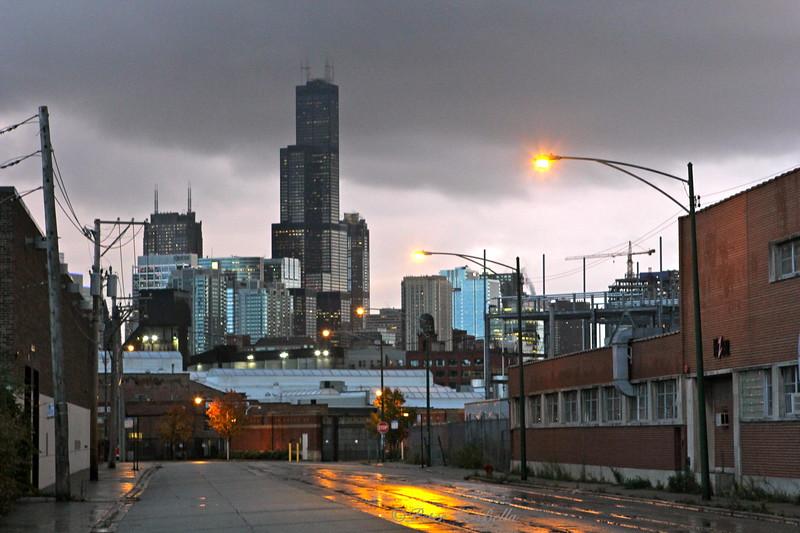 1100 Block of North Cherry Street at dusk.