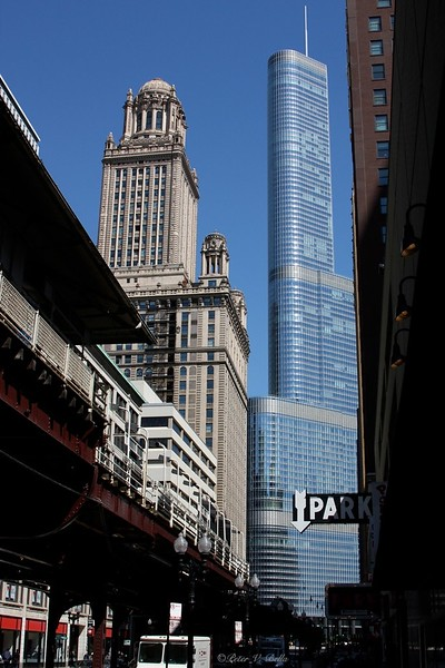 The old and the new. A view of the Jewelers building and Trump Tower from Wabash and Madison. Though they look like they are next to each other, they are across the Chicago River from one another.