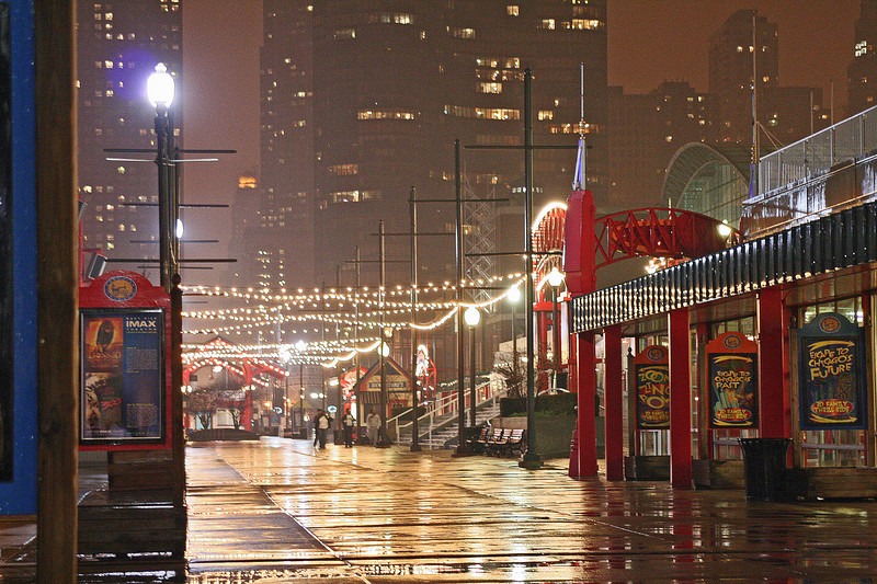 Navy Pier on a rainy evening - Chicago IL