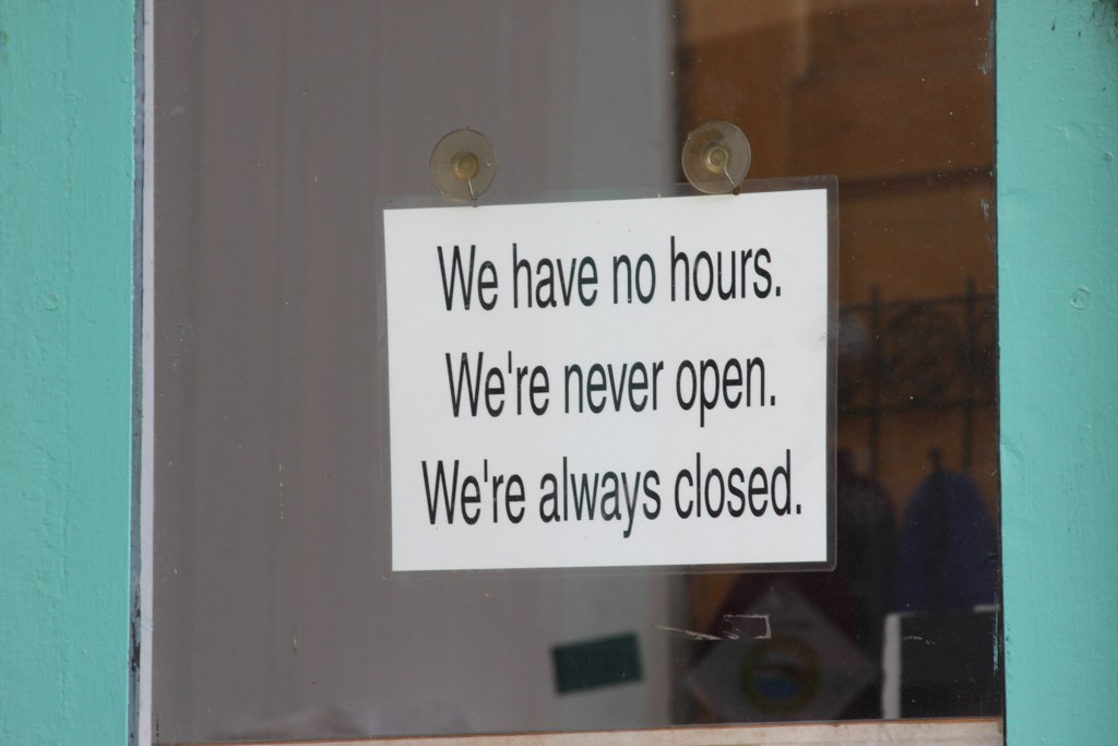 This sign has been in the window of an Old Town storefront for as long as I can remember.