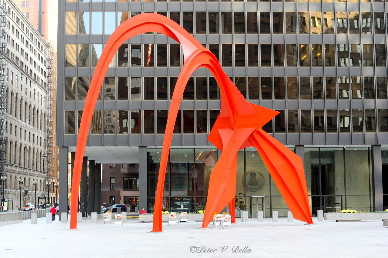 """Claes Oldenberg """"The Flamingo"""" in Federal Plaza. Mr. Oldenberg was a Chicago born sculpture."""