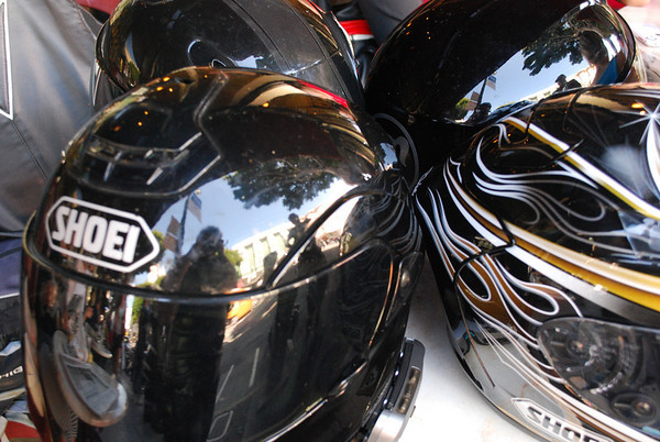 reflections in helmet