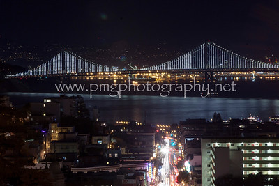 San Francisco Bay Bridge, as seen from atop Nob Hill on Broadway