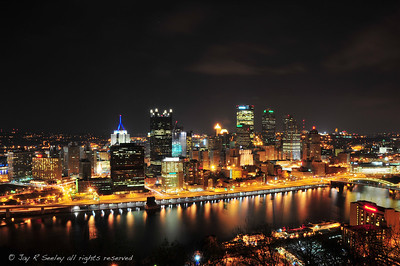 downtown Pittsburgh from Mt Washington.  This picture is also available with frame here: nightscape art