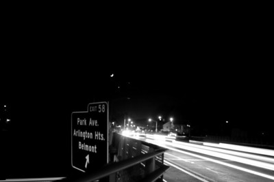 Massachusetts Highway 60 and Route 2.  The Arlington and Belmont border, looking towards Belmont and a unique combination of the Moon, Venus, and Jupiter.