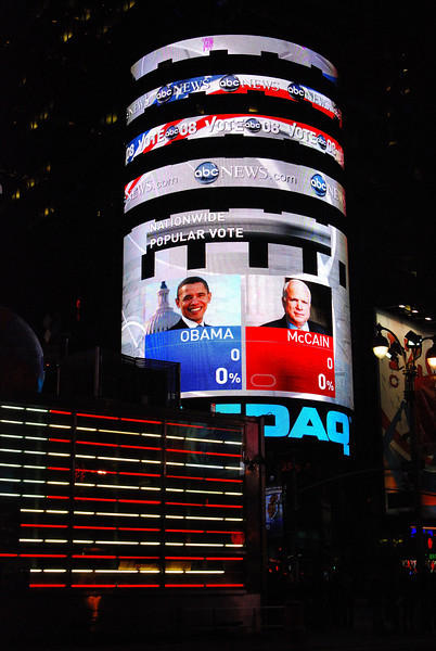 Times Square in New York, preparing for the 2008 Presidential Election.