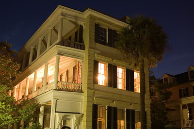 Charleston at night. Rainbow Row. South Craolina