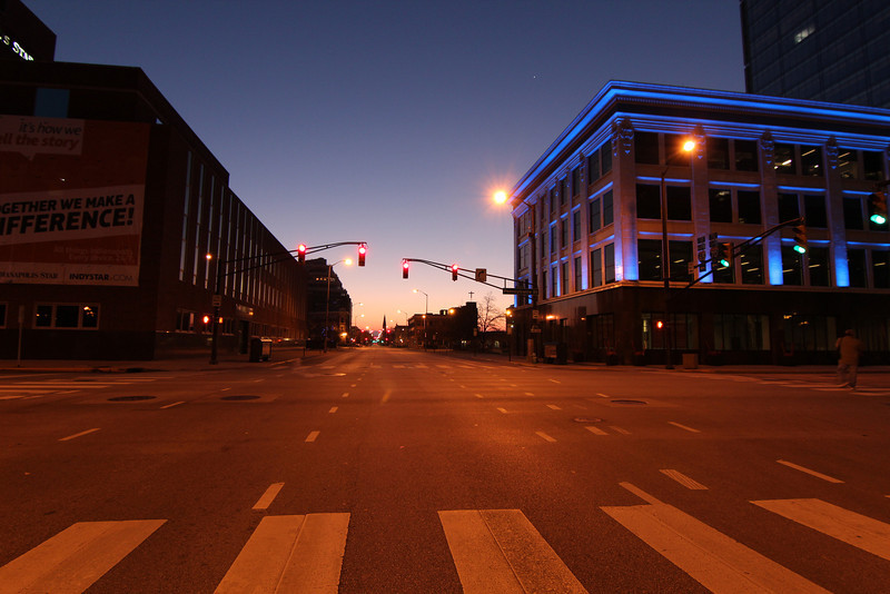 Taken with new Tokina lens (11-16mm F2.8 - AT-X 116 Pro DX II).   Taken just before sunrise on deserted streets in downtown Indianapolis.