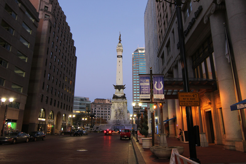 Taken with new Tokina lens (11-16mm F2.8 - AT-X 116 Pro DX II).   The Indianapolis Soldiers and Sailors Monument is a 284-foot limestone construction created in honor of the soldiers who lost their lives during the Civil and Spanish-American wars.