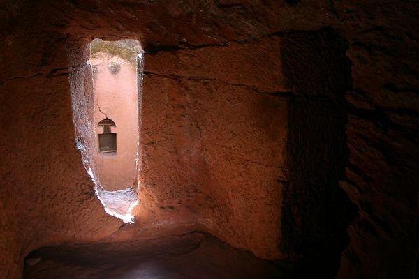 rock-hewn passageway between churches, lalibela, ethiopia