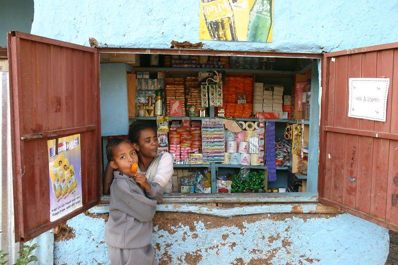 local shop in residential neighbourhood, gondar, ethiopia