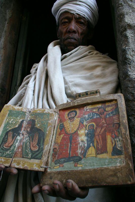 priest at ashetan maryam, near lalibela, ethiopia