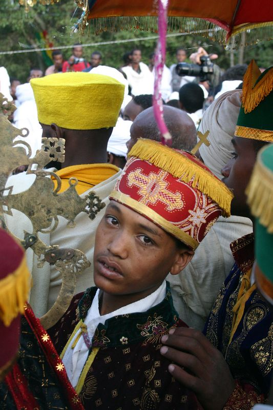 procession on first day of timkat, gondar, ethiopia
