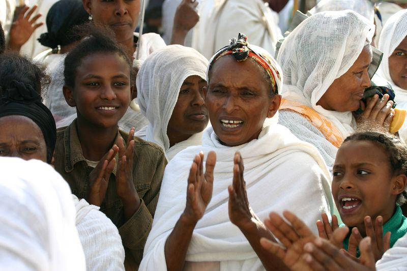 dancing and processing for tinkat (epiphany), gondar, ethiopia