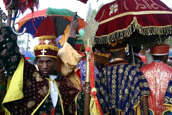 procession on first day of timkat (epiphany), gondar, ethiopia