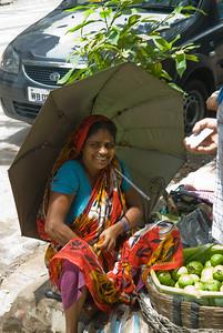 Happy fruit seller