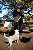 Cat.#0150 - Busker And Singing Dog. Farmers Market. Downtown Austin, TX.