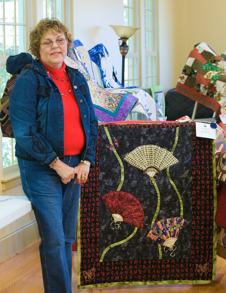 Pat at Quilt Festival - 2nd place ribbon