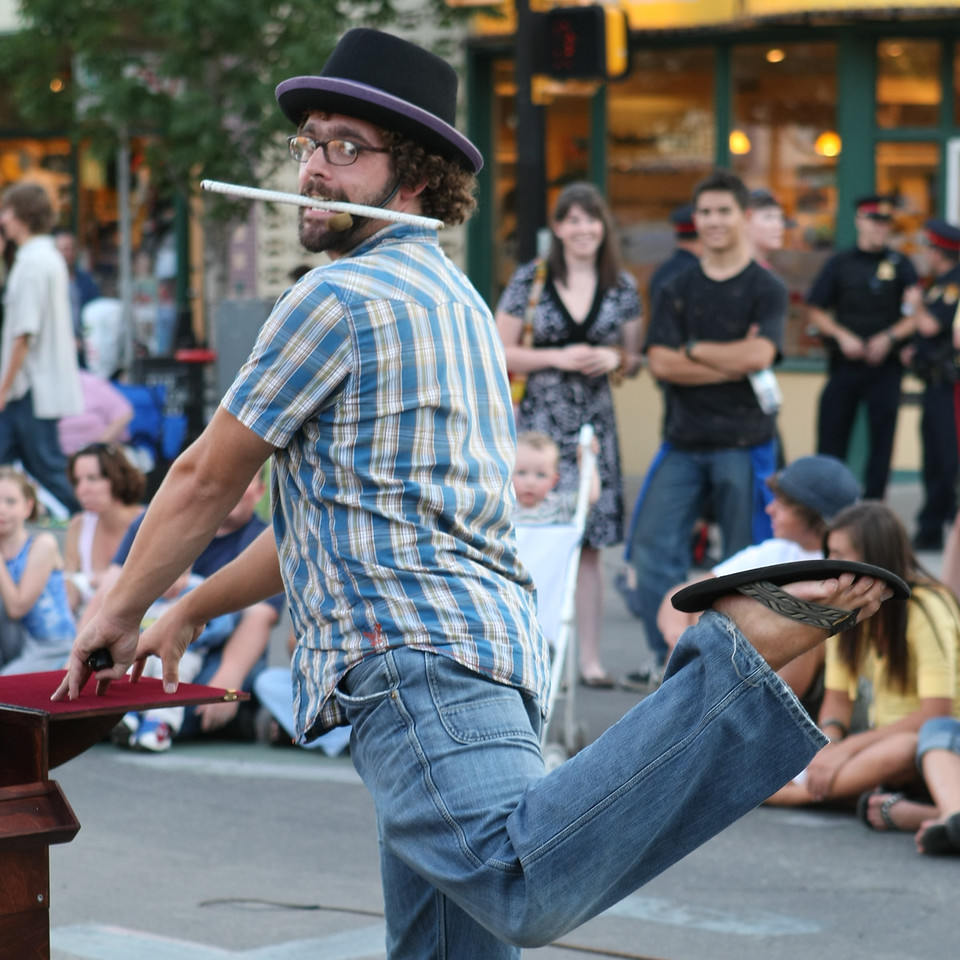 A street performer poses.