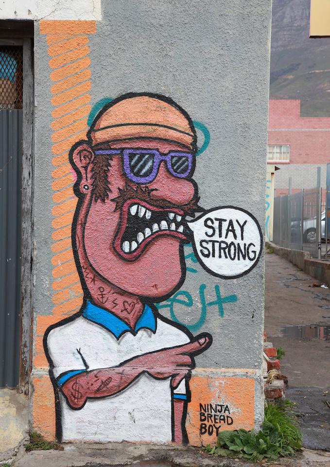 Street art in Woodstock, Cape Town: Stay strong by Ninja Bread Boy