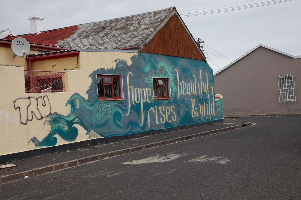 Wall art in Woodstock, Cape Town - Hope rises beautiful and wild