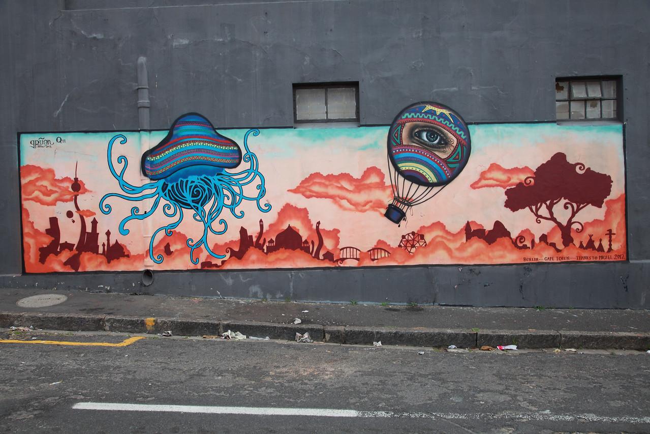 Street art in Woodstock, Cape Town: funfair and hot air balloon