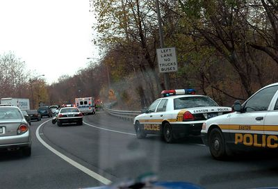 Oops, someone couldn't make it through the Rt 22 curves and hit the guard rail