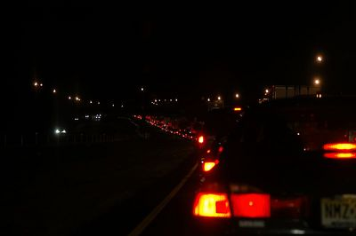 Miles of stop-n-go traffic - the result of an accident which destroyed a UPS delivery truck.