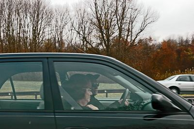 This old geezer is a piece of work. First the blinker goes on indicating he will move out of the left lane. But then changes his mind by tuning on the emergency flashers and staying put.