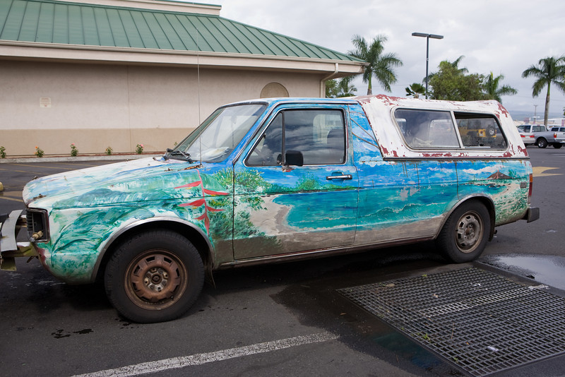 "Seen parked in front of a local health food store in Hilo, this truck epitomizes the phrase ""take the beach with you""."