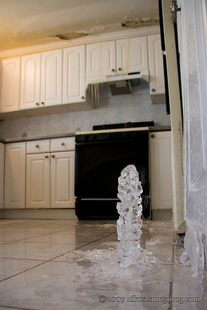 Ice accumulation on the kitchen floor