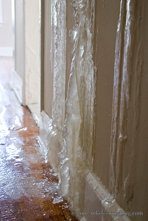 Thick ice formations on the walls