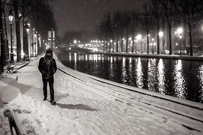 snowy night walker