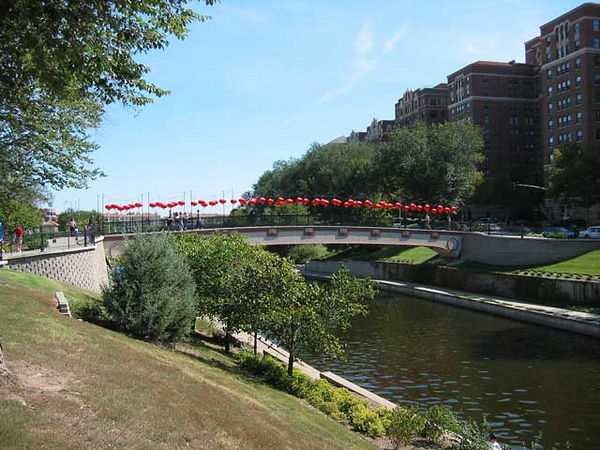 One of the bridges over Brush Creek has been decorated for the Art Fair.