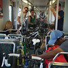 Bikes crammed onto the Expo line from Culver City to downtown at the end of the day