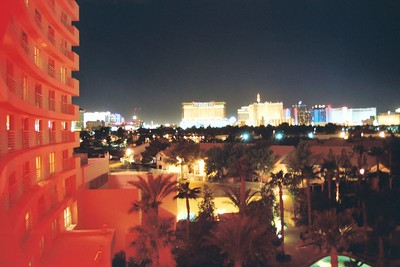 View of the Strip at night from the Hard Rock
